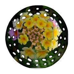 Colorful Flowers Round Filigree Ornament (2Side)
