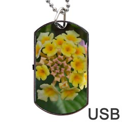Colorful Flowers Dog Tag USB Flash (One Side)