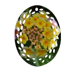 Colorful Flowers Oval Filigree Ornament (2-Side)