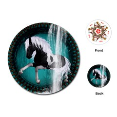 Beautiful Horse With Water Splash  Playing Cards (round)