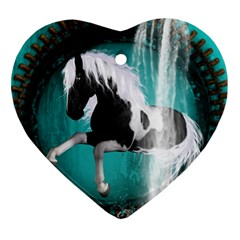 Beautiful Horse With Water Splash  Heart Ornament (2 Sides)