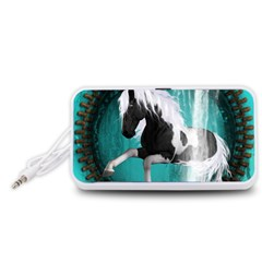 Beautiful Horse With Water Splash  Portable Speaker (white)