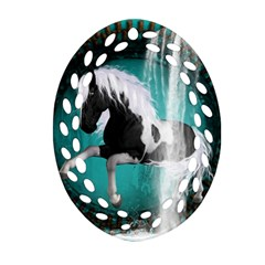 Beautiful Horse With Water Splash  Oval Filigree Ornament (2-Side)