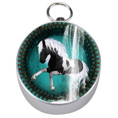 Beautiful Horse With Water Splash  Silver Compasses