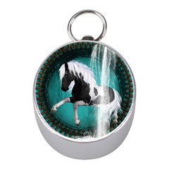 Beautiful Horse With Water Splash  Mini Silver Compasses
