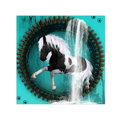 Beautiful Horse With Water Splash  Small Satin Scarf (Square)