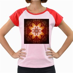 Elegant, Decorative Kaleidoskop In Gold And Red Women s Cap Sleeve T Shirt