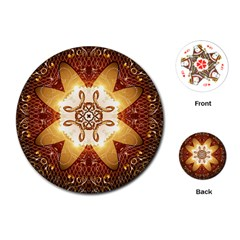 Elegant, Decorative Kaleidoskop In Gold And Red Playing Cards (Round)