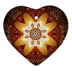 Elegant, Decorative Kaleidoskop In Gold And Red Heart Ornament (2 Sides)