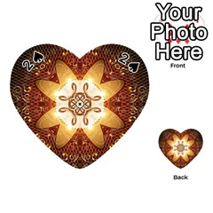 Elegant, Decorative Kaleidoskop In Gold And Red Playing Cards 54 (heart)