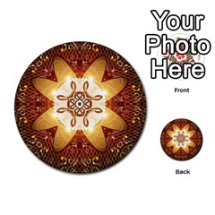 Elegant, Decorative Kaleidoskop In Gold And Red Multi Purpose Cards (round)