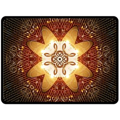 Elegant, Decorative Kaleidoskop In Gold And Red Fleece Blanket (Large)