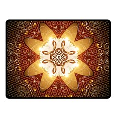 Elegant, Decorative Kaleidoskop In Gold And Red Fleece Blanket (Small)