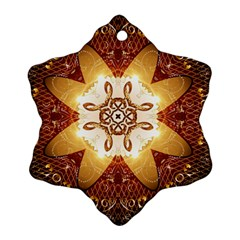 Elegant, Decorative Kaleidoskop In Gold And Red Snowflake Ornament (2-Side)