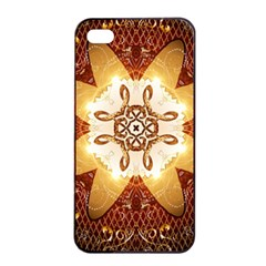 Elegant, Decorative Kaleidoskop In Gold And Red Apple iPhone 4/4s Seamless Case (Black)