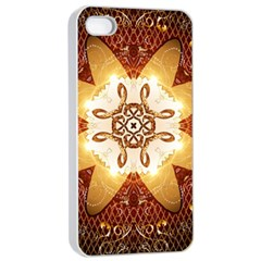 Elegant, Decorative Kaleidoskop In Gold And Red Apple iPhone 4/4s Seamless Case (White)