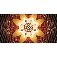 Elegant, Decorative Kaleidoskop In Gold And Red YOU ARE INVITED 3D Greeting Card (8x4)