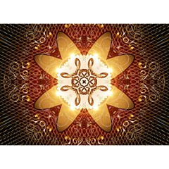 Elegant, Decorative Kaleidoskop In Gold And Red Birthday Cake 3D Greeting Card (7x5)