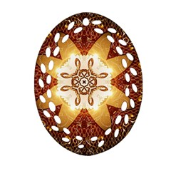 Elegant, Decorative Kaleidoskop In Gold And Red Oval Filigree Ornament (2-Side)