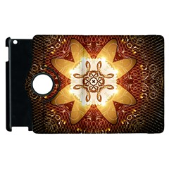 Elegant, Decorative Kaleidoskop In Gold And Red Apple Ipad 2 Flip 360 Case