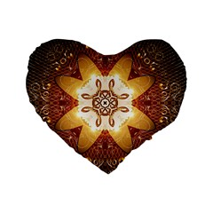 Elegant, Decorative Kaleidoskop In Gold And Red Standard 16  Premium Heart Shape Cushions