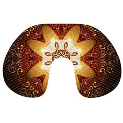 Elegant, Decorative Kaleidoskop In Gold And Red Travel Neck Pillows