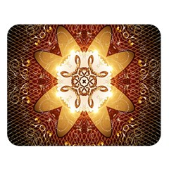 Elegant, Decorative Kaleidoskop In Gold And Red Double Sided Flano Blanket (Large)