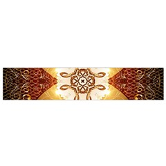 Elegant, Decorative Kaleidoskop In Gold And Red Flano Scarf (small)