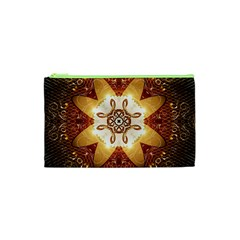 Elegant, Decorative Kaleidoskop In Gold And Red Cosmetic Bag (xs)