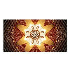 Elegant, Decorative Kaleidoskop In Gold And Red Satin Shawl