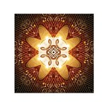 Elegant, Decorative Kaleidoskop In Gold And Red Small Satin Scarf (Square)  Front