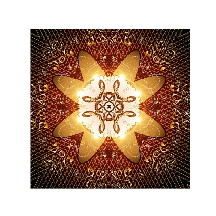 Elegant, Decorative Kaleidoskop In Gold And Red Small Satin Scarf (Square)