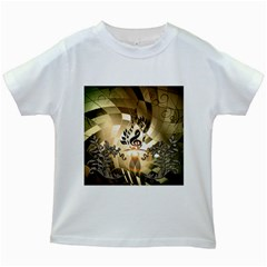 Clef With  And Floral Elements Kids White T Shirts