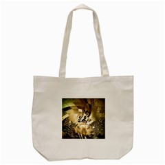 Clef With  And Floral Elements Tote Bag (Cream)