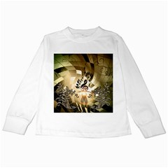Clef With  And Floral Elements Kids Long Sleeve T Shirts