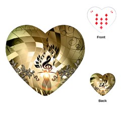 Clef With  And Floral Elements Playing Cards (Heart)