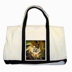 Clef With  And Floral Elements Two Tone Tote Bag