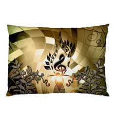 Clef With  And Floral Elements Pillow Cases