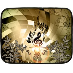 Clef With  And Floral Elements Fleece Blanket (Mini)