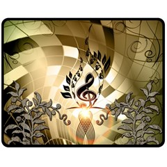 Clef With  And Floral Elements Fleece Blanket (medium)