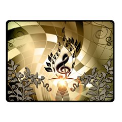 Clef With  And Floral Elements Fleece Blanket (small)