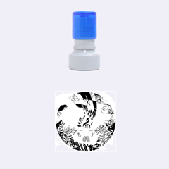 Clef With  And Floral Elements Rubber Round Stamps (small)