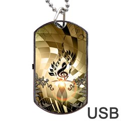 Clef With  And Floral Elements Dog Tag USB Flash (One Side)