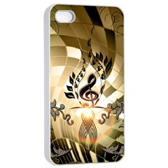 Clef With  And Floral Elements Apple Iphone 4/4s Seamless Case (white)