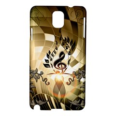 Clef With  And Floral Elements Samsung Galaxy Note 3 N9005 Hardshell Case