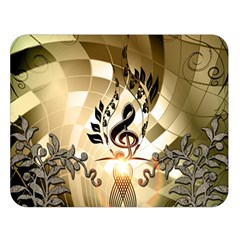 Clef With  And Floral Elements Double Sided Flano Blanket (Large)