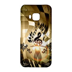 Clef With  And Floral Elements HTC One M9 Hardshell Case