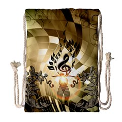 Clef With  And Floral Elements Drawstring Bag (Large)