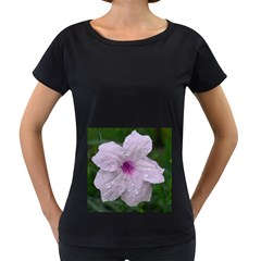 Pink Purple Flowers Women s Loose-Fit T-Shirt (Black)