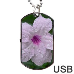 Pink Purple Flowers Dog Tag Usb Flash (one Side)